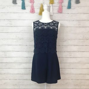 Skies are Blue Navy Blue Lace Detail Romper Large